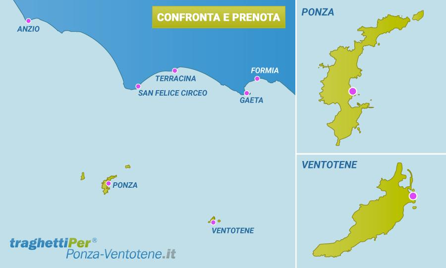 mappa di Ponza e Ventotene